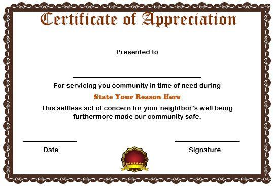 free certificate of appreciation for volunteers