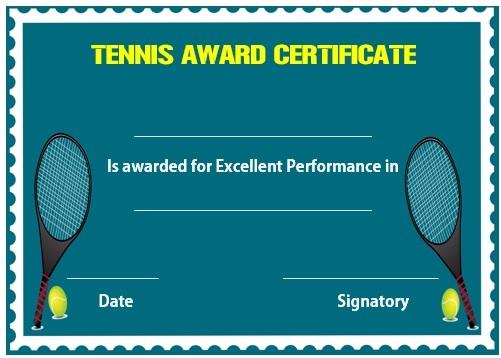 25 Free Tennis Certificate Templates - Download, Customize & Print ...