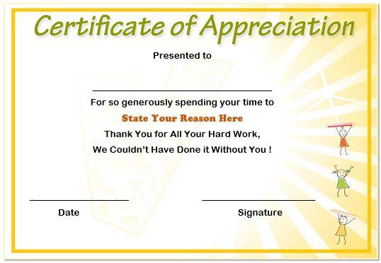 13 Volunteer Appreciation Certificates : Free Printable Word ...