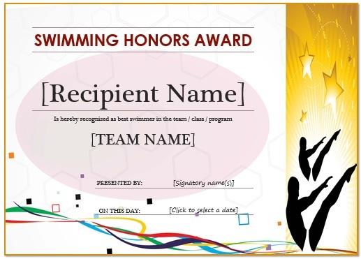 Honours Swimming Certificate