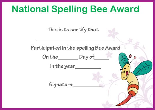 national spelling bee certificate