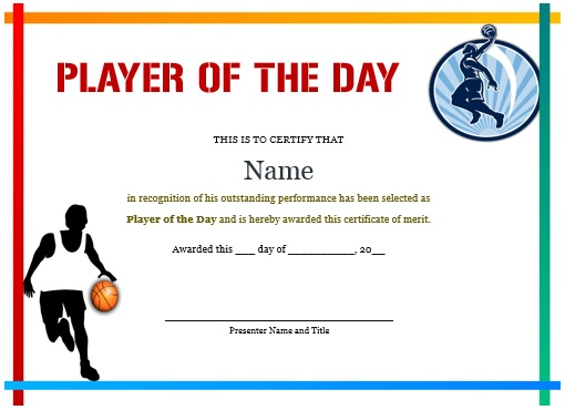 player of the day certificate basketball