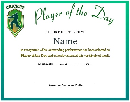 player of the day certificate cricket