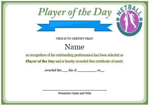 player of the day certificate netball