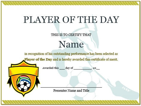 player of the day football certificate
