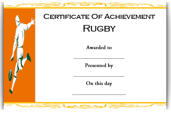 Rugby Achievement Certificate Template
