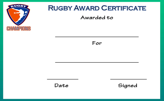 Rugby Award Certificate Templates