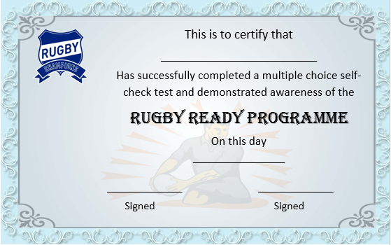 Rugby Ready Course Certificate