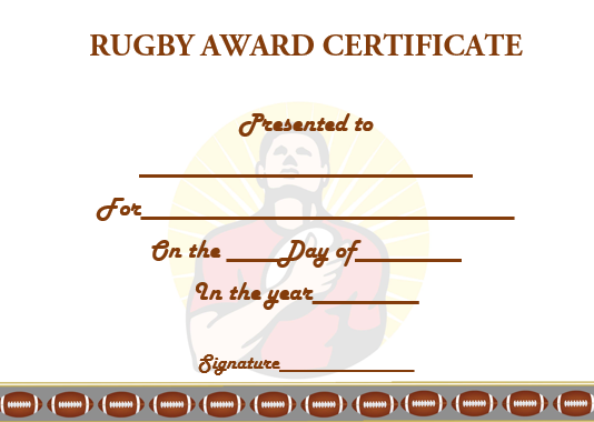 Sample Rugby Certificate