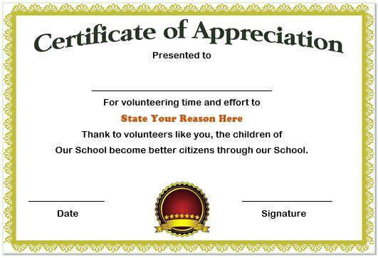 school volunteer appreciation certificate