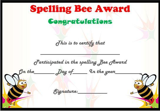 spelling bee certificate template related keywords