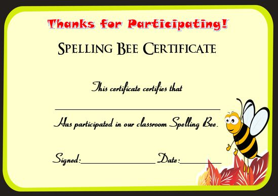 21 Free Printable Spelling Bee Certificates Participation Winner – 1st Place Certificate Template