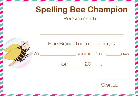 spelling bee champion certificate
