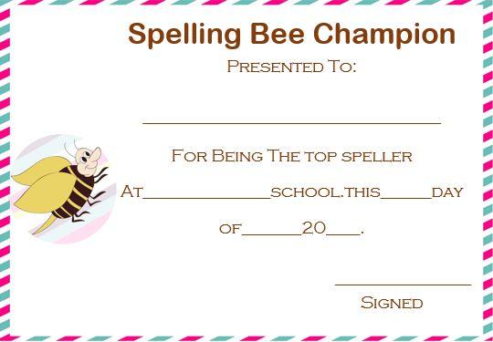 spelling bee champion certificate