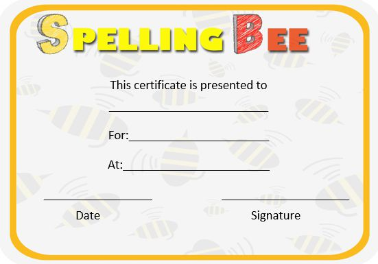 spelling bee contest certificates