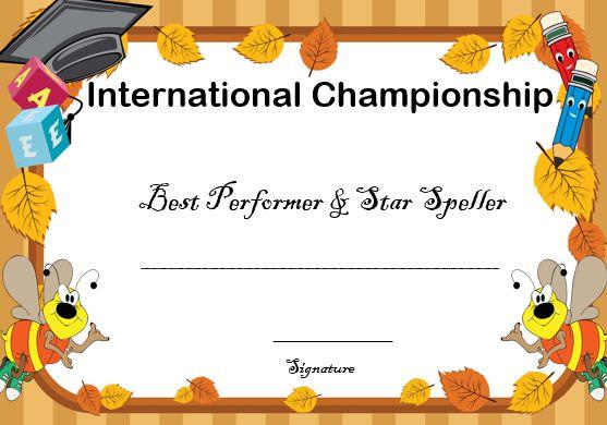 spelling bee international award certificate