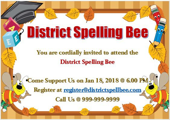Spelling Bee Invitation Template 11