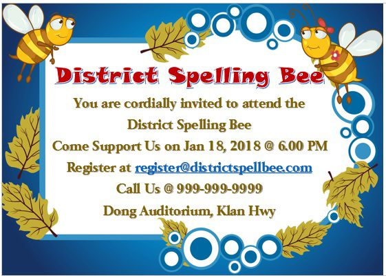 Spelling Bee Invitation Template 2