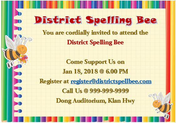 Spelling Bee Invitation Template 5