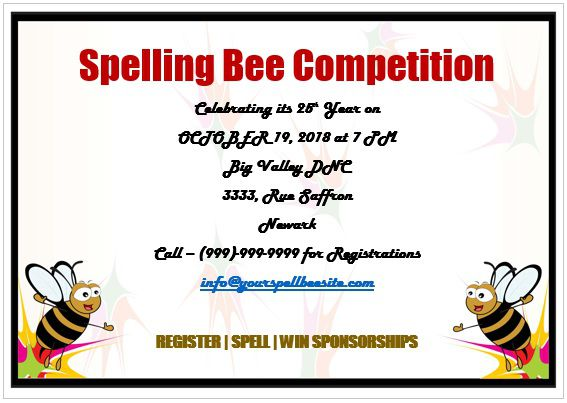15 colorful spelling bee invitation templates free to for Spelling bee invitation template