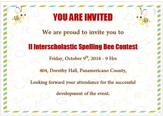Spelling Bee Invitation Template 7