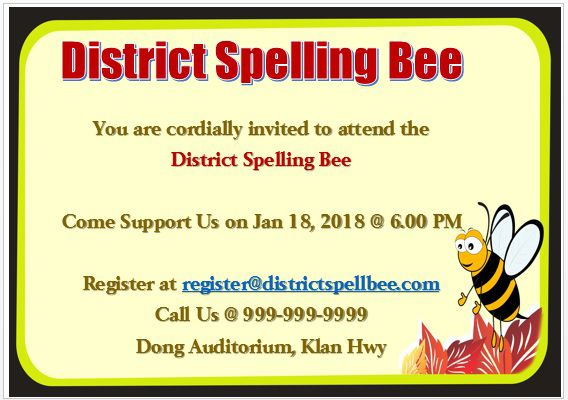 15 Colorful Spelling Bee Invitation Templates Free To