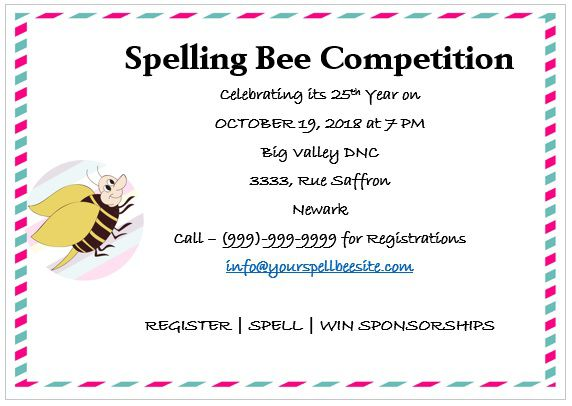 Spelling Bee Invitation Template 9