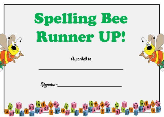 spelling bee runner up certificate