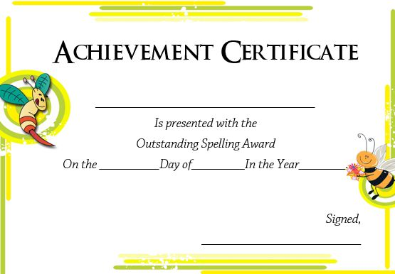 21 Free Printable Spelling Bee Certificates Participation Winner School Templates