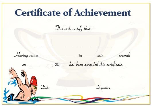 100m swimming certificate (teacher made).