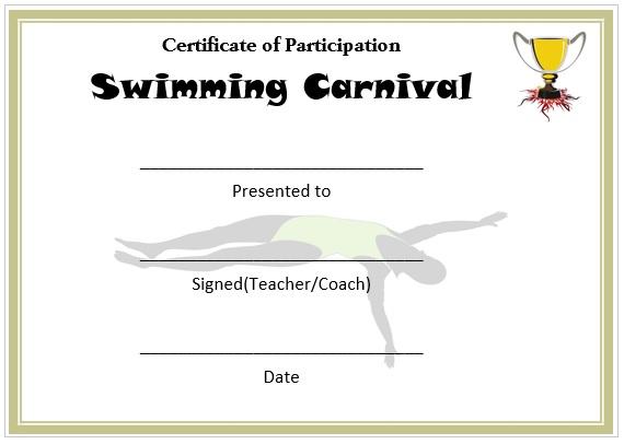 Swimming Carnival Certificate