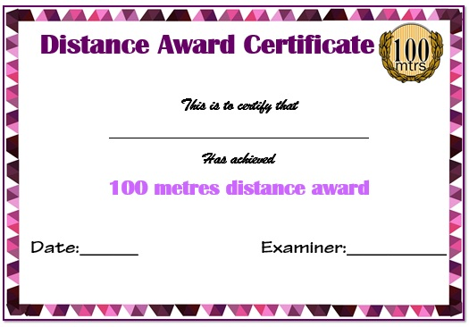 Swimming Certificate 100m