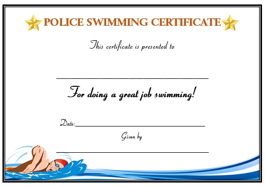 Swimming Certificate for Police