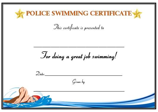 5m swimming certificate (teacher made).