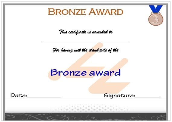 Swimming Certificate Bronze