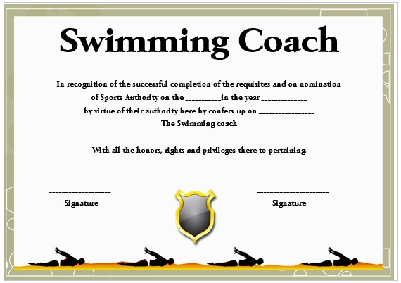 Swimming Coach Certificate