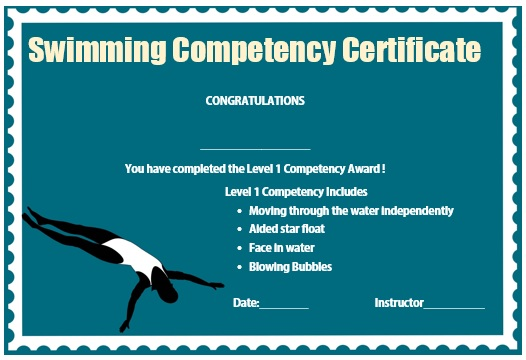 Swimming Competency Certificate