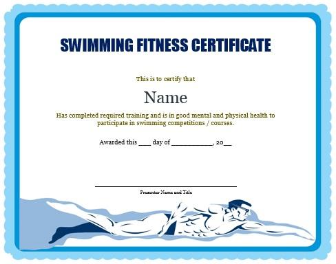 Swimming Fitness Certificate