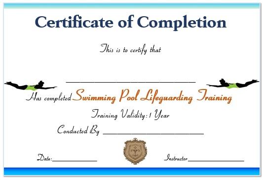 Swimming Pool Lifeguard Certificate
