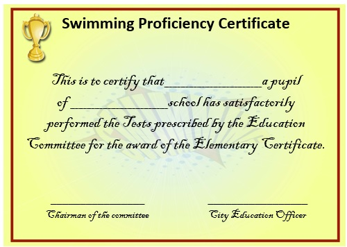 Swimming Proficiency Certificate