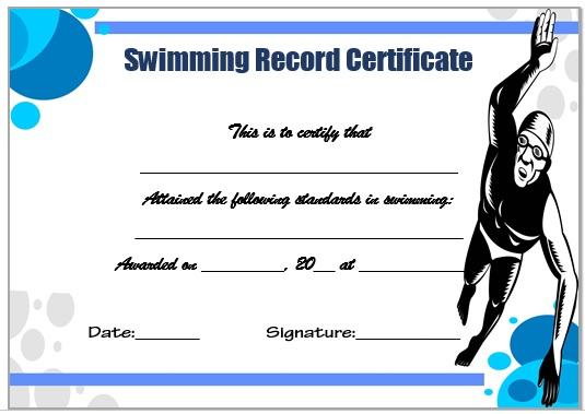 Swimming Record Certificate Template