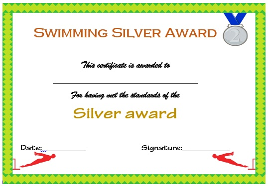 Swimming Silver Certificate