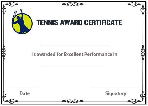 Tennis award certificate template