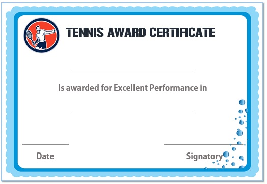 tennis award certificate template 2