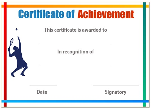 Tennis certificate of achievement