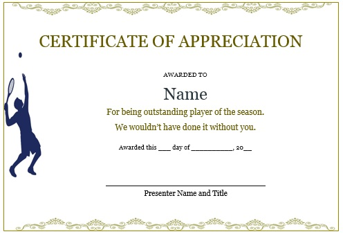 Tennis certificate of appreciation