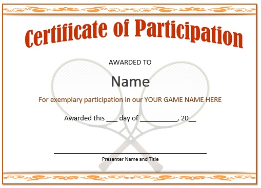 Tennis certificate of participation 2