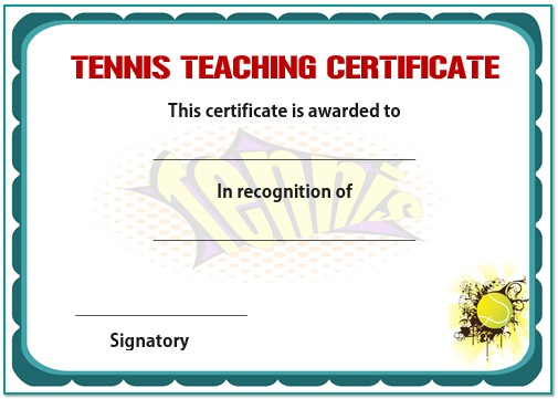 Tennis teaching certificate