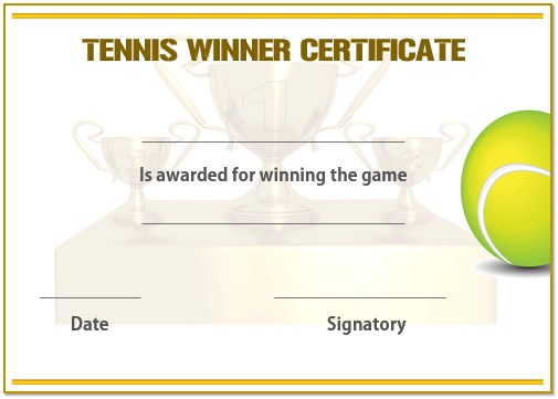 Tennis winner certificate 2