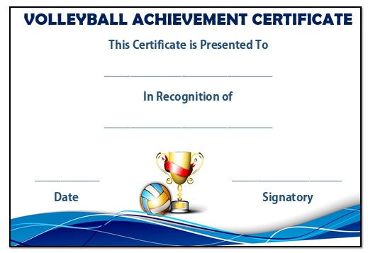 Volleyball Achievement Certificate